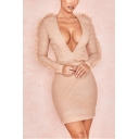 Women's New Stylish Plunge Neck Long Sleeve Lace Trim Pleated Detail Plain Mini Bodycon Apricot Dress