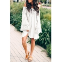 Women's Summer Stylish Off the Shoulder Long Sleeve Lace Detail Mini A-Line Swing Dress