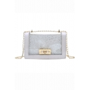 Trendy Plain Pearl Buckle Embellishment Sequined Cross Bag 18*5*12 CM