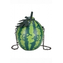 Fashion Creative Watermelon Shape Green Circle Crossbody Bag 12*8*17 CM