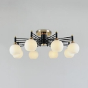 Frosted Glass Globe Ceiling Lamp Hotel 8 Lights Contemporary Semi Flush Ceiling Light in Black/Gold
