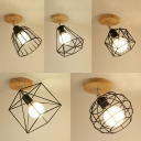 Industrial Caged Semi Flush Ceiling Fixture 1 Light Metal Rotatable Ceiling Light in Black