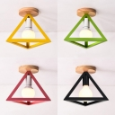 Triangle Semi Flush Mount Modern Metal 1 Light Ceiling Light for Bedroom in Black/Green/Red/Yellow