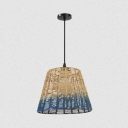Tapered/Globe/Oval Hanging Pendant Light for Cafe Modern Rope 1 Light Drop Light in Blue