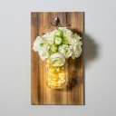 Decorative String Light with White Hydrangea and Clear Bottle Wood and Glass Sting Lamp