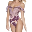 New Trendy Floral Leaf Printed Ruffle Hem Crisscross Back High Leg One Piece Swimsuit for Women