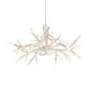 White Deer Horn Chandelier 22 Lights Rustic Style Resin Pendant Lighting for Living Room Foyer