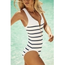 Popular Black and White Striped Printed Zip V-Neck White One Piece Swimsuit for Women