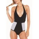 Trendy Colorblock Mesh Patched Halter Plunged Neck Women's One Piece Swimsuit Swimwear