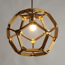 Vintage Style Cage Shape Ceiling Light Single Bulb Wood Pendant Lighting for Hallway