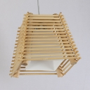 Bamboo Trapezoid Hanging Pendant Lamp Single Light Rustic Style Ceiling Fixture in Beige