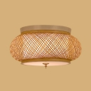 3 Lights Circle Flush Mount Light Rustic Style Rattan Ceiling Light in Beige for Living Room Foyer