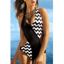 Fashion Black and White Chevron Striped Printed Sexy V-Neck One Piece Swimsuit Swimwear