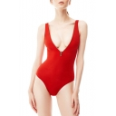 New Trendy Solid Color Sexy Zip Front Plunged Neck Womens Red One Piece Swimsuit