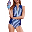 New Trendy Blue and White Striped Printed Stand Collar Zip Up One Piece Swimsuit