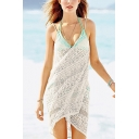 Women's New Trendy Lace Hollow Out Beach Dress Sunscreen Cover Up