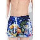 New Stylish Magic Figure Galaxy Printed Blue Beach Shorts Swim Trunks for Men