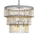 American Vintage Circle Chandelier 6 Lights Metal and Wooden Beads Chandelier Light for Bedroom
