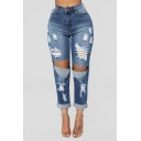 Womens Hot Fashion Distressed Ripped Hole Design Light Blue Slim Fit Denim Jeans