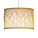 Bamboo Drum Shape Ceiling Light Single Light Rustic Style Pendant Lighting in Beige for Kitchen