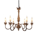 Candle Shape Chandelier Lamp Wood 6 Lights Rustic Style Pendant Lighting for Living Room Foyer