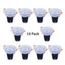 (10 Pack)360°Adjustable Angle COB Recessed Light 5/10/15W Round Light Fixture Recessed in White/Warm White