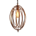 Metal Cage Pendant Lighting Kitchen with Oval Shade One Light Rustic Lighting Fixture in Black/Gold/White