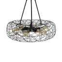 6 Lights Drum Pendant Lighting Industrial Metal Chandelier Light in Black for Hallway