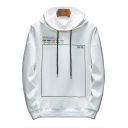 New Fashion Unique Date Print Mens Loose Fit Long Sleeve Pullover Hoodie
