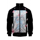 Basic Long Sleeve Stand Collar Chic Floral Printed Zip Up Black Jacket