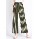 Summer Womens Holiday Fashion Vertical Stripe Printed Tied Front Culottes Wide Leg Pants