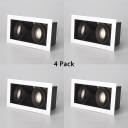 (4 Pack)Angle Adjustable Recessed Down Light Hallway Mall 6W Rectangle Flush Mount Recessed in White/Warm