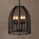 Traditional Candle Chandelier with Wire Mesh Shade 6 Lights Black Pendant Lighting for Restaurant