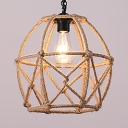 Rope Caged Hanging Lamp Dining Room Restaurant Single Light Vintage Style Ceiling Light in Beige