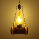 Antique Style Kerosene Pendant Lamp Single Light Wood and Glass Hanging Light for Bar