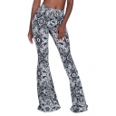 Women's New Fashion Tribal Floral Printed High Rise Flare Pants