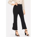 Women's Simple Solid Color High Rise Unique Ruffled Cuff Flare Pants