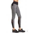 Women's Trendy Heather Grey Unique Mesh Panel Sport Fitness Yoga Leggings