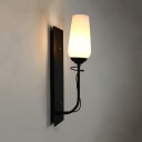 White Curved Shade Wall Light 1 Light Traditional Style Frosted and Metal Wall Lamp for Bedroom Living Room