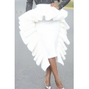 Summer New Trendy Designer Unique Ruffled Hem Solid Color Midi White Bodycon Skirt