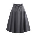 New Trendy Simple Plain Vintage Bow-Tied Waist Midi Gray Swing Skirt