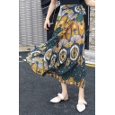 Summer Holiday Boho Style Tribal Printed Tied Side Long Beach Skirt Chiffon Wrap Skirt