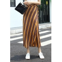 Summer Yellow Stripe Printed Tied Waist High Slit Side Maxi Wrap Skirt