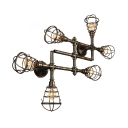 Industrial Cross Plumbing Semi Flush Mount Ceiling Light in Rust Finsh, 6 Lights 44.4'' Width