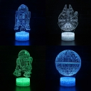 Movie Element Pattern 3D Night Lamp Touch Sensor 7 Color Changing LED Illusion Light with USB Port Battery for Boy Girl Gift
