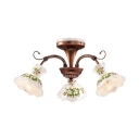 Frosted Glass Metal Semi Flush Mount Light 3/5 Lights Rustic Style Light Fixture with Flower Shade for Bedroom