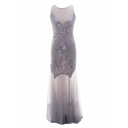 New Fancy Transparent Mesh Panel Sequined Embellished Maxi Fishtail Evening Prom Dress