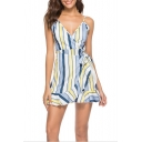 Trendy Fashion Surplice V-Neck Tied Waist Ruffled Mini A-Line Slip Dress