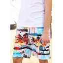 Summer Stylish Tropical Coconut Palm Printed Holiday Beach Swim Trunks for Guys
