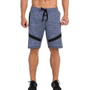 Summer Mens Basic Simple Grey Drawstring Waist Beach Swim Shorts